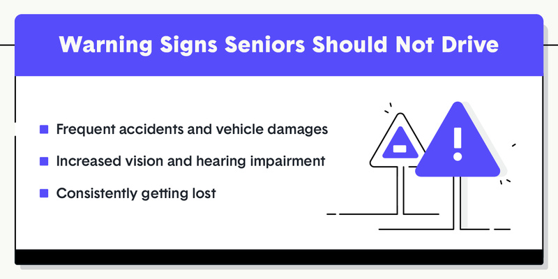senior driving warning signs