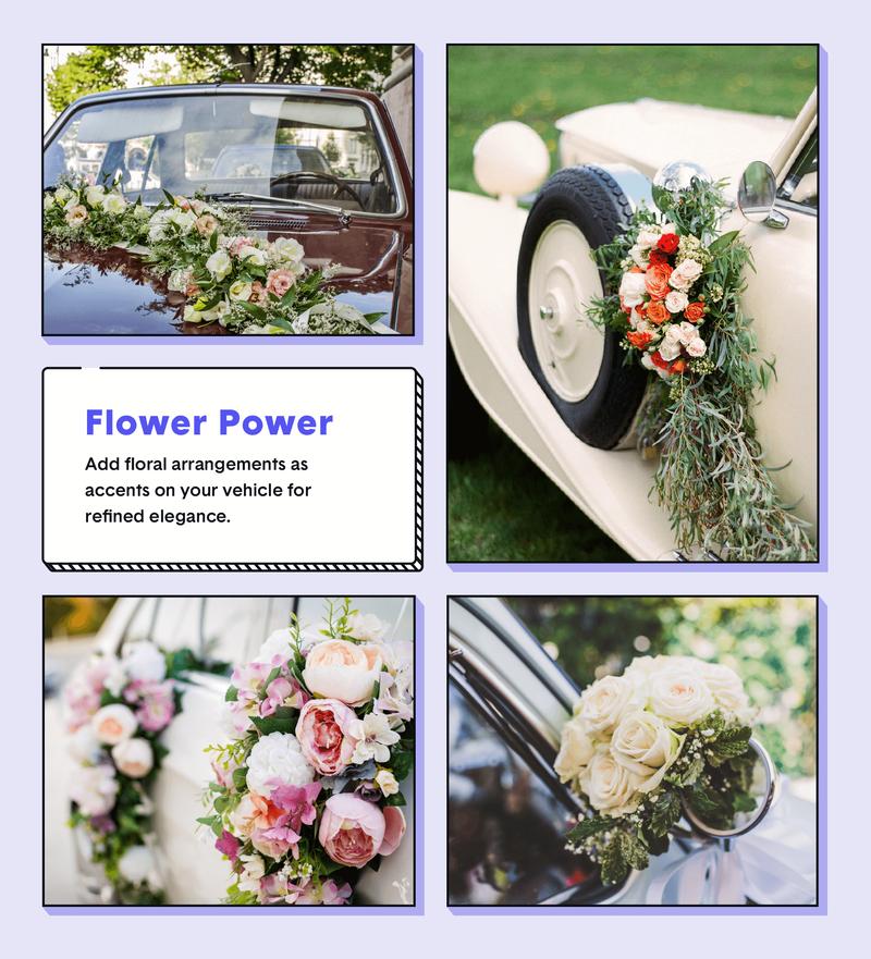 wedding car decor flower power