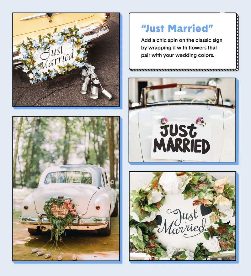wedding car decor just married
