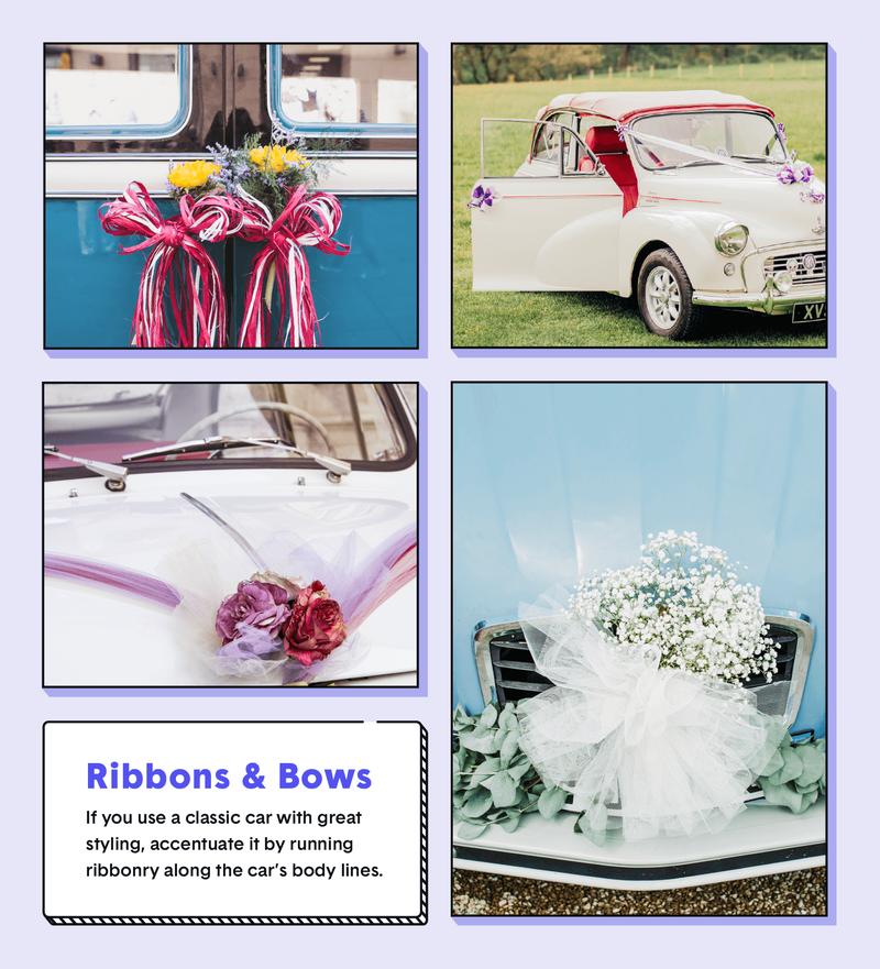 wedding car decor ribbons and bows