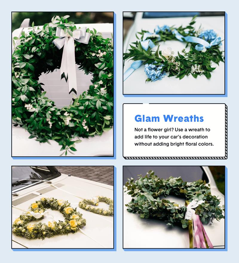 wedding car decor glam garland wreaths